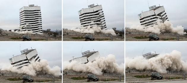 CHRISTCHURCH, NEW ZEALAND - AUGUST 05:  This combo of pictures shows a building being demolished by controlled explosions on August 5, 2012 in Christchurch, New Zealand. The 14-story Radio Network House building in Worcester St, is the first of its kind in the city to be blown up in a controlled demolition since authorities began the massive task of bringing down the hundreds of quake-damaged buildings. The building was badly damaged in the magnitude-6.3 February 22, 2011 earthquake.  (Photo by Martin Hunter/Getty Images)
