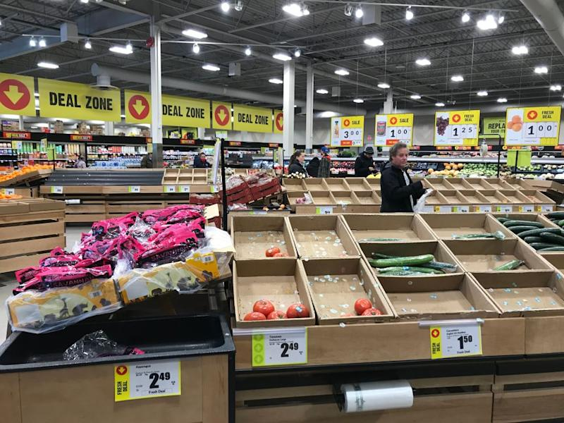 The results of panic-buying at a Toronto area FreshCo due to COVID-19. (Wendy Gillis/Toronto Star via Getty Images)
