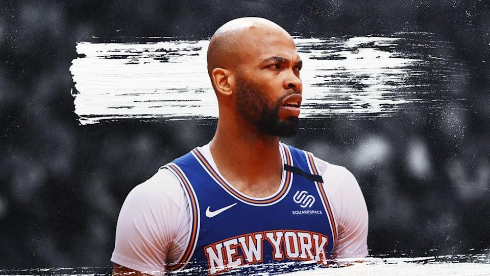Knicks' Taj Gibson treated image, blue jersey with dark background and white stripe behind head