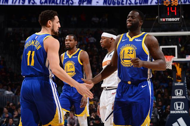 The Warriors were 21-of-39 from 3-point range against the Nuggets. (Photo by Bart Young/NBAE via Getty Images)
