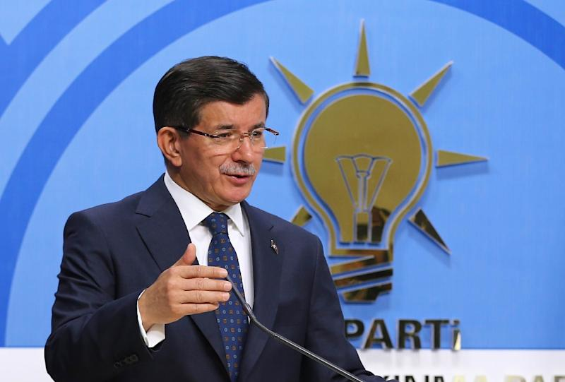 Turkey's Prime Minister Ahmet Davutoglu pictured during a news conference at his ruling AK Party (AKP) headquarters in the capital Ankara on June 26, 2015