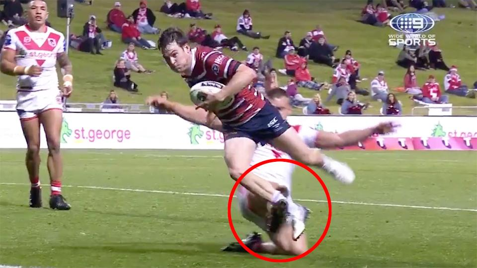 Pictured here, the Jackson Ford tripping incident that could land the Dragons lock in trouble.