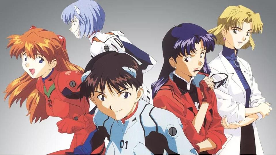 The characters of Neon Genesis Evangelion stand back to back.