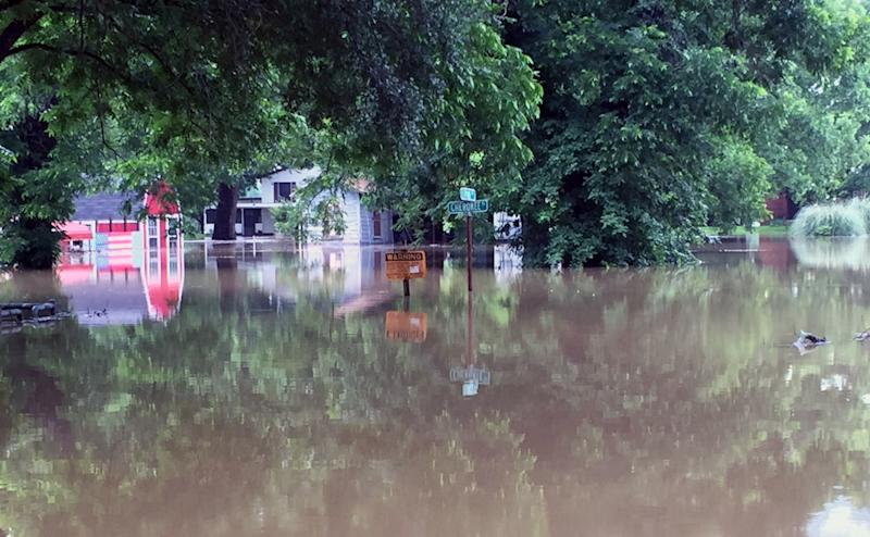 The Brazos River near Horseshoe Bend is already nearly five feet above the flood stage. With more rain in the forecast, officials fear the river could rise another five feet. (Yahoo News/Jason Sickles)