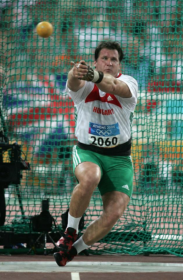 ATHENS - AUGUST 22:  Adrian Annus of Hungary competes during the men's hammer throw final on August 22, 2004 during the Athens 2004 Summer Olympic Games at the Olympic Stadium in the Sports Complex in Athens, Greece. (Photo by Michael Steele/Getty Images)