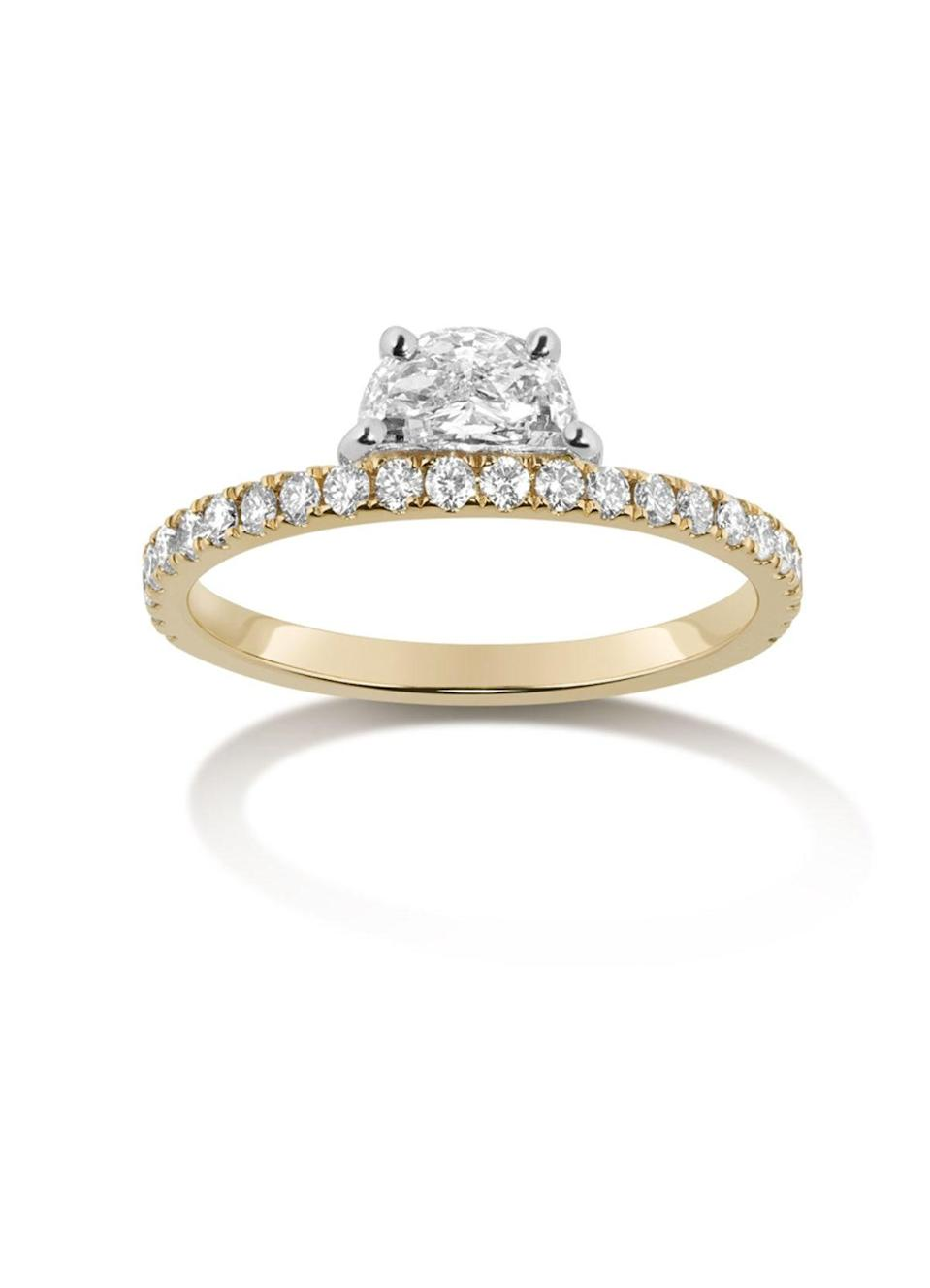 """Also seeing a comeback is yellow gold, according to Zimmerman: """"With a diamond pavé band, the color of the metal peeking through is subtle yet adds a layer of uniqueness."""" $3900, Selin Kent. <a href=""""https://www.selinkent.com/collections/bridal-1/products/helia-pave-ring"""" rel=""""nofollow noopener"""" target=""""_blank"""" data-ylk=""""slk:Get it now!"""" class=""""link rapid-noclick-resp"""">Get it now!</a>"""