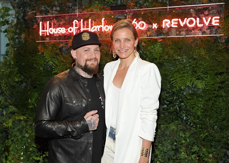 Benji Madden and Cameron Diaz look stunning side-by-side in black and white outfit
