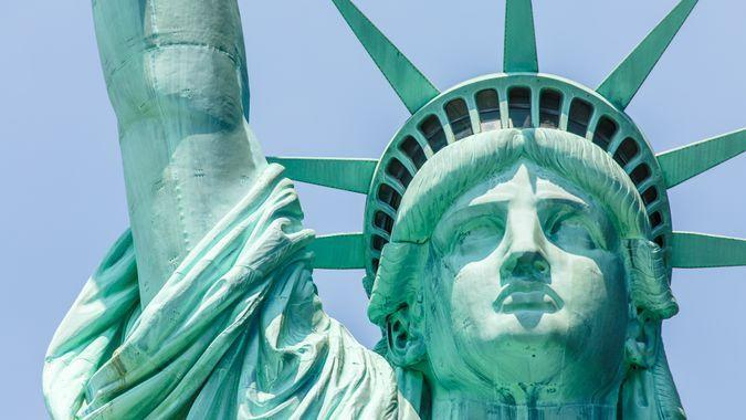 New York, NY, USA - August 11, 2014: View on Statue of Liberty's face on August 11, 2014 on Liberty Island in New York Harbor, in Manhattan, New York.