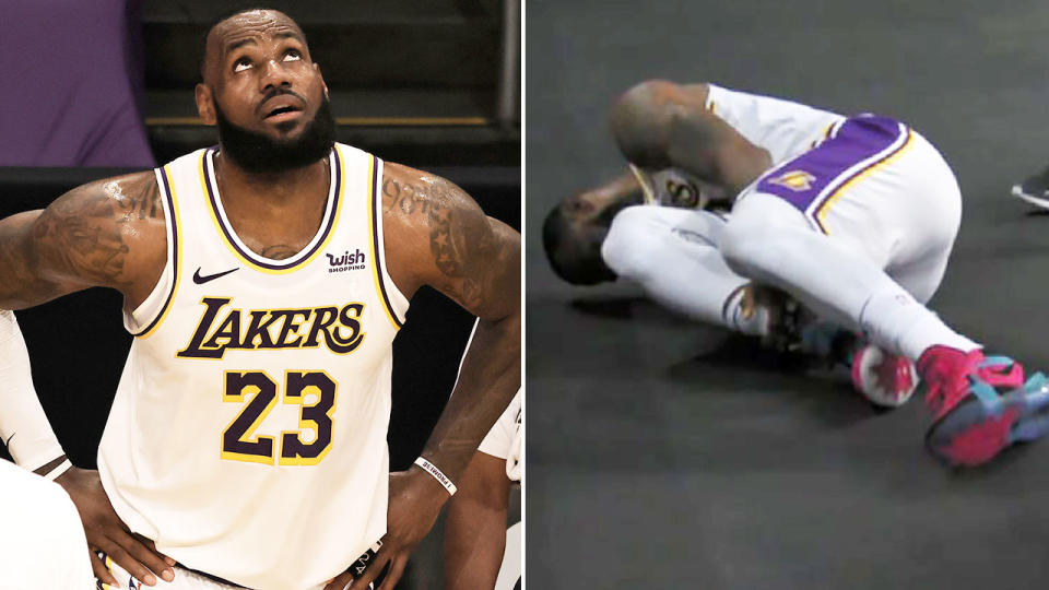 LeBron James, pictured here after suffering the ankle injury.