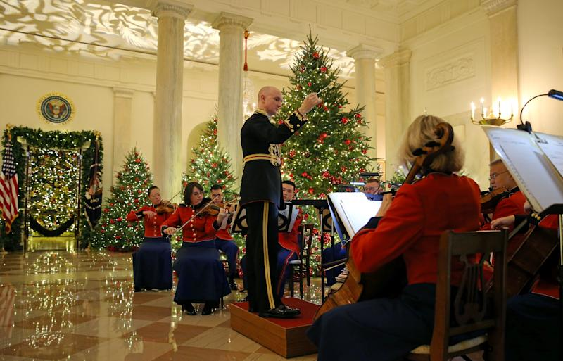 The President's Own Marine Band plays during the 2018 Christmas Press Preview at the White House in Washington, U.S., November 26, 2018.
