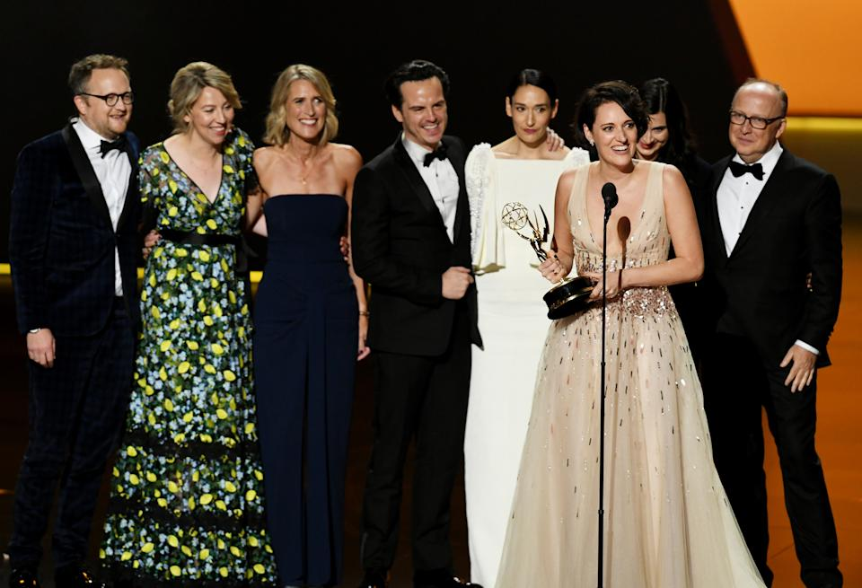 LOS ANGELES, CALIFORNIA - SEPTEMBER 22: Phoebe Waller-Bridge (speaking) and fellow cast and crew members of 'Fleabag' accept the Outstanding Comedy Series award onstage during the 71st Emmy Awards at Microsoft Theater on September 22, 2019 in Los Angeles, California. (Photo by Kevin Winter/Getty Images)