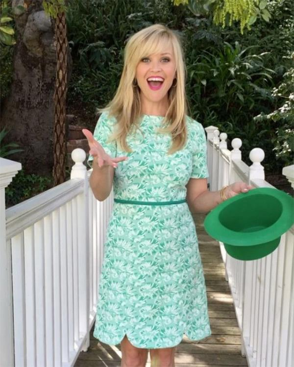 "<p>""Found the pot of gold!"" Witherspoon teased in <a rel=""nofollow"" href=""https://www.instagram.com/p/BRvepuNhkGE/?utm_source=ig_embed"">a video</a> featuring heself in a green dress, from her clothing line, Draper James, and a derby on St. Patrick's Day 2017. Of course, she found a way to be stylish <i>and</i> festive. (Photo: Reese Witherspoon via Instagram) </p>"