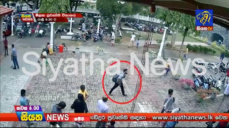 A suspected suicide bomber enters St Sebastian's Church in Negombo, Sri Lanka April 21, 2019 in this still image taken from a CCTV handout footage of Easter Sunday attacks released on April 23, 2019. (Photo: CCTV/Siyatha News via Reuters)