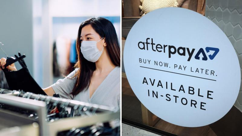 A woman shopping for clothes with a mask on on the left, and a Afterpay sign in a shop window.