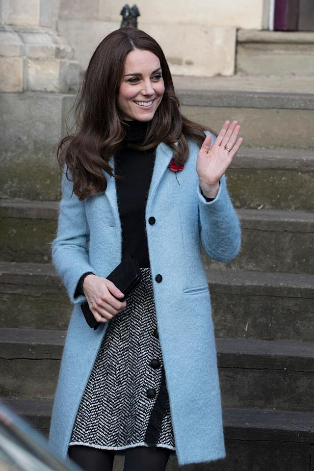 "<p>Just another one of <a rel=""nofollow"" href=""https://www.yahoo.com/style/kate-middleton-has-a-closet-c1415651226031.html"">Kate Middleton's fabulous coats</a>! For a charity visit to Nelson Trust Women's Centre in Gloucester, England, the Duchess of Cambridge wore a black turtleneck with a Dolce & Gabbana skirt and kept warm in a sky blue jacket from Mulberry. <i>(Photo: Getty Images)</i></p>"