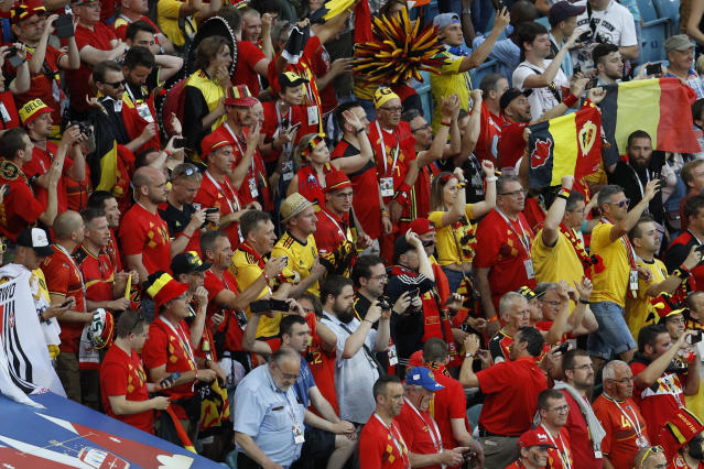 Belgium fans cheer at the end of the group G match between Belgium and Panama at the 2018 soccer World Cup in the Fisht Stadium in Sochi, Russia, Monday, June 18, 2018. Belgium won 3-0. (AP Photo/Victor R. Caivano)