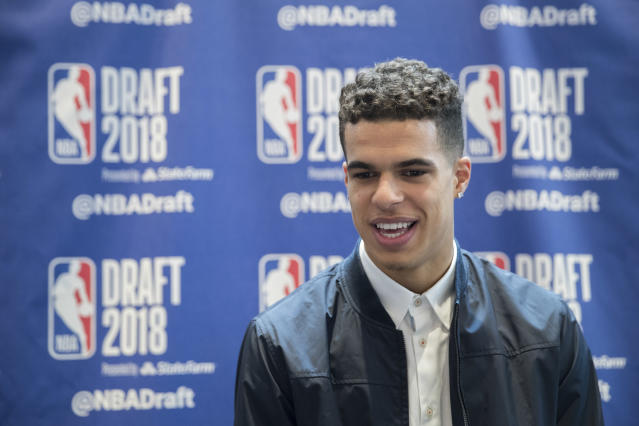 Michael Porter Jr. speaks to reporters Wednesday during media availability for the NBA draft. (AP)