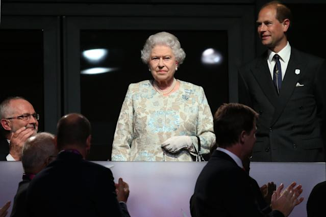 LONDON, ENGLAND - AUGUST 29: (L-R) Queen Elizabeth II and Prince Edward, Earl of Wessex look on during the Opening Ceremony of the London 2012 Paralympics at the Olympic Stadium on August 29, 2012 in London, England. (Photo by Dan Kitwood/Getty Images)