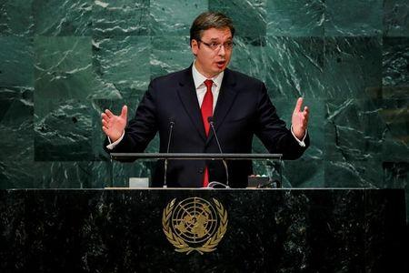 Serbia's Prime Minister Vucic addresses the United Nations General Assembly in New York