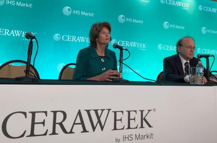 FILE PHOTO: U.S. Senator from Alaska Murkowski, speaks with energy scholar Yergin, at the annual CERAWeek energy conference in Houston