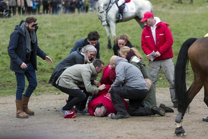 An official was hit by a racehorse right in front of the palace. Photo: Getty