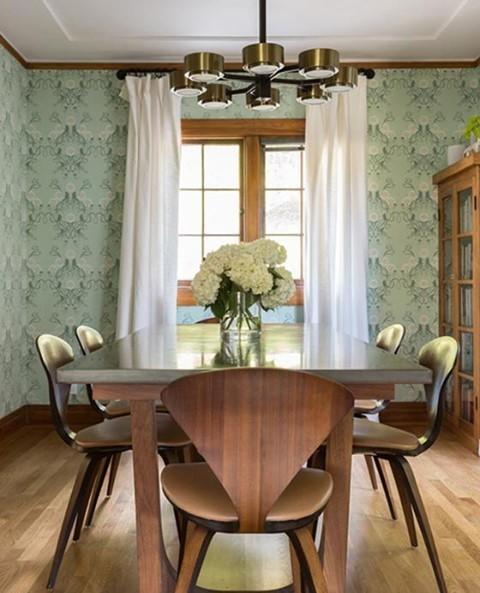"""<p>The """"abstract"""" pattern in this dining room is actually a series of squid. </p><p><a href=""""https://www.instagram.com/p/CMhxkrXDBRJ/"""" rel=""""nofollow noopener"""" target=""""_blank"""" data-ylk=""""slk:See the original post on Instagram"""" class=""""link rapid-noclick-resp"""">See the original post on Instagram</a></p>"""