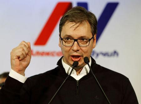 Serbian Prime Minister and presidential candidate Aleksandar Vucic speaks after his win in presidential election at his headquarters in Belgrade
