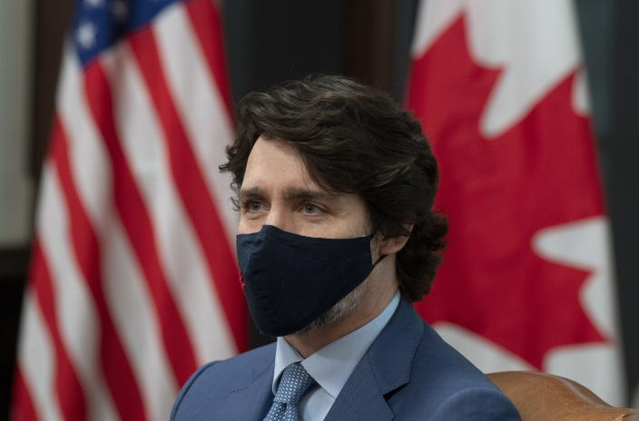 Canadian Prime Minister Justin Trudeau is seen as he meets virtually with United States President Joe Biden from his office on Parliament Hill in Ottawa, Ontario, Tuesday, Feb. 23, 2021. (Adrian Wyld/The Canadian Press via AP)
