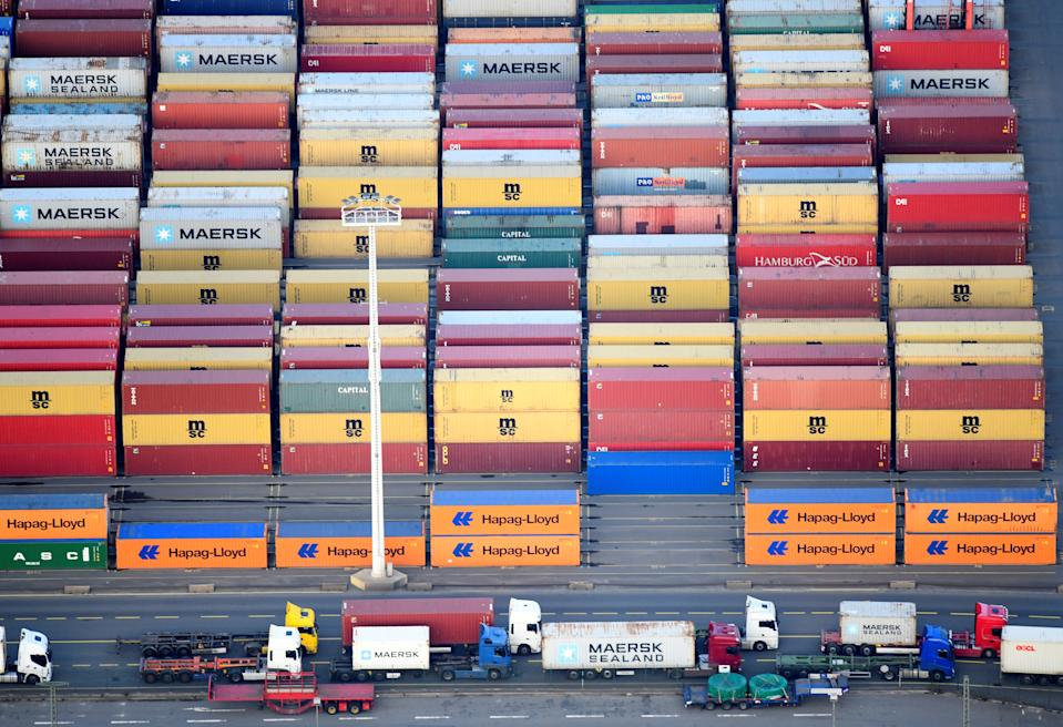 Containers of Maersk, MSC and Hapag-Lloyd are seen at a terminal in the port of Hamburg, Germany November 14, 2019. REUTERS/Fabian Bimmer