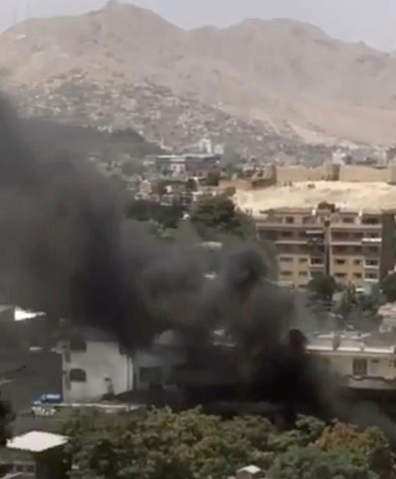 <p>Smoke billows in this still from video obtained from social media, in Kabul, Afghanistan July 31, 2017. (Social media website/via Reuters) </p>