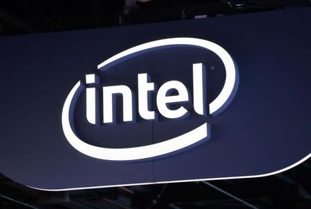 The sign hanging outside the Intel booth is seen at the International Consumer Electronics show (CES) in Las Vegas