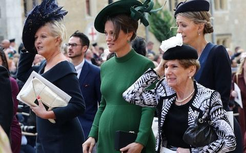 Pippa Middleton (centre) during the wedding of Princess Eugenie to Jack Brooksbank - Credit: PA