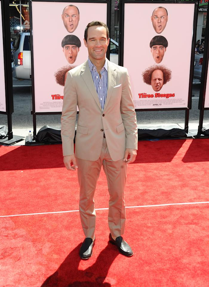 """HOLLYWOOD, CA - APRIL 07:  Actor Chris Diamantopoulos attends the Los Angeles premiere of """"The Three Stooges"""" on April 7, 2012 in Hollywood, California.  (Photo by Michael Buckner/Getty Images)"""