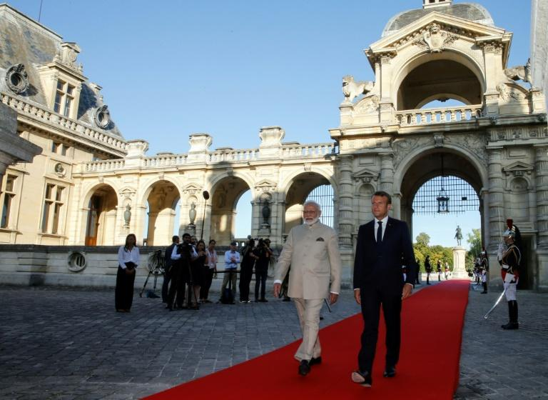 """Defence cooperation is an """"important pillar"""" of the relationship between India and France, Prime Minister Narendra Modi told French President Emmanuel Macron on a visit to the chateau of Chantilly"""