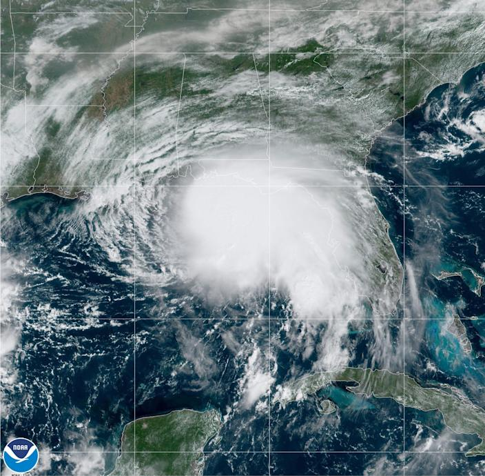 Tropical Storm Sally in the Gulf of Mexico as of 10 a.m., Monday, Sept. 14, 2020.