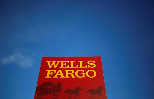 FILE PHOTO: A Wells Fargo branch is seen in the Chicago suburb of Evanston, Illinois, U.S. February 10, 2015. To match Special Report BITCOIN-EXCHANGES/RISKS REUTERS/Jim Young/File Photo