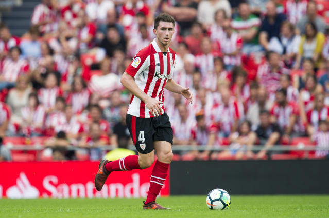 "Athletic Bilbao center back <a class=""link rapid-noclick-resp"" href=""/soccer/players/aymeric-laporte/"" data-ylk=""slk:Aymeric Laporte"">Aymeric Laporte</a> could be <a class=""link rapid-noclick-resp"" href=""/soccer/teams/manchester-city/"" data-ylk=""slk:Manchester City"">Manchester City</a>'s most expensive signing ever. (Getty)"