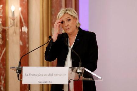 Marine Le Pen, French National Front (FN) political party leader and candidate for French 2017 presidential election, attends a news conference in Paris, France, April 10, 2017. REUTERS/Benoit Tessier