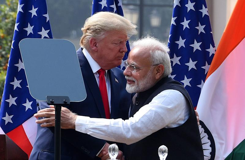 <strong>US President Donald Trump and Prime Minister Narendra Modi greet each other after their joint statement, at Hyderabad House this week.</strong> (Photo: SIPA USA/PA Images)