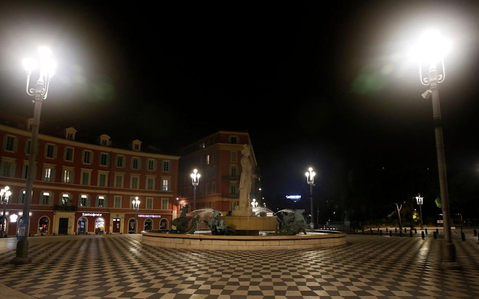 Deserted Massena place in Nice, France, after the curfew  - Shutterstock