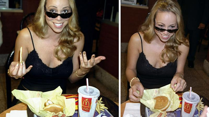 Mariah Carey eating McDonald's Macca's fries, burger and coke. Source: Getty