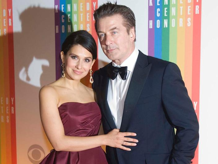 lec Baldwin and wife, Hilaria, arrive at the Kennedy Center for the Performing Arts for the 2012 Kennedy Center Honors Performance and Gala, Sunday, Dec. 2, 2012 at the State Department in Washington. AP Images