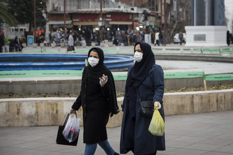 Women wear face masks as a precaution against the outbreak of Coronavirus. With the spread of coronavirus in the world, the virus has hit Iran and Qom, Rasht has the highest number of people with coronavirus in Iran. Currently schools and universities in Gilan province are closed and people move less in the city. (Photo by Babak Jeddi / SOPA Images/Sipa USA)