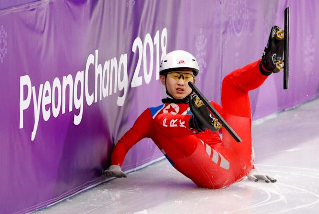 Short Track Speed Skating Events - Pyeongchang 2018 Winter Olympics - Men's 500 m Competition - Gangneung Ice Arena - Gangneung, South Korea - February 20, 2018. Jong Kwang Bom of North Korea falls. REUTERS/John Sibley TPX IMAGES OF THE DAY