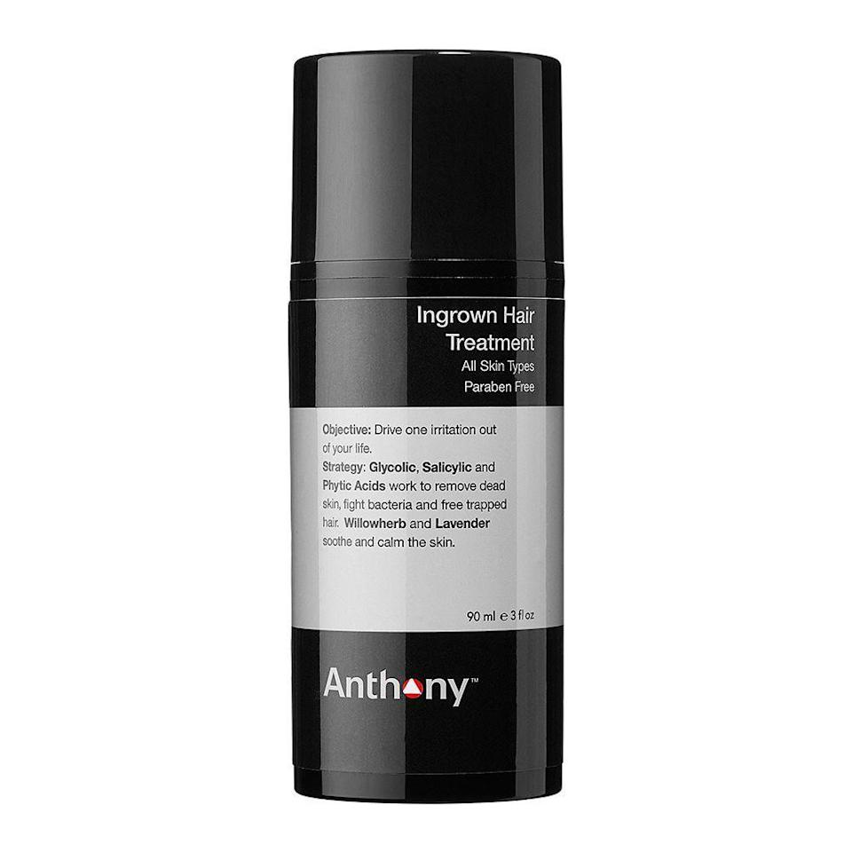 "<p><strong>Anthony</strong></p><p>dermstore.com</p><p><strong>$34.00</strong></p><p><a href=""https://go.redirectingat.com?id=74968X1596630&url=https%3A%2F%2Fwww.dermstore.com%2Fproduct_Ingrown%2BHair%2BTreatment_28032.htm&sref=https%3A%2F%2Fwww.bestproducts.com%2Fbeauty%2Fg23610496%2Fingrown-hair-treatment%2F"" rel=""nofollow noopener"" target=""_blank"" data-ylk=""slk:Shop Now"" class=""link rapid-noclick-resp"">Shop Now</a></p><p>Anthony's Ingrown Hair Treatment gently removes dead skin, fights bacteria, and frees the hair <em>before</em> it becomes ingrown through its tough-as-nails formulation of <a href=""https://www.bestproducts.com/beauty/g22530244/benefits-of-glycolic-acid-skincare-products/"" rel=""nofollow noopener"" target=""_blank"" data-ylk=""slk:glycolic"" class=""link rapid-noclick-resp"">glycolic</a>, salicylic, and <a href=""https://www.shape.com/lifestyle/beauty-style/skin-benefits-lactic-malic-phytic-tartaric-citric-acid#"" rel=""nofollow noopener"" target=""_blank"" data-ylk=""slk:phytic acids"" class=""link rapid-noclick-resp"">phytic acids</a>. It's also infused with willowherb and lavender to calm irritated skin.</p>"