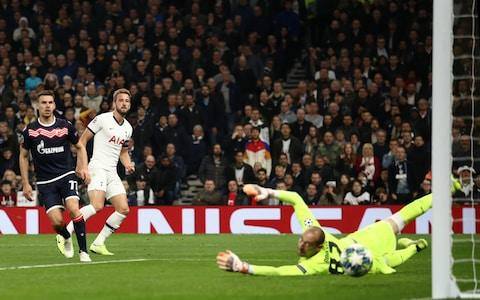 Harry Kane of Tottenham Hotspur scores his team's fifth goal during the UEFA Champions League group B match between Tottenham Hotspur and Crvena Zvezda at Tottenham Hotspur Stadium on October 22, 2019 in London, United Kingdom - Credit: Getty Images