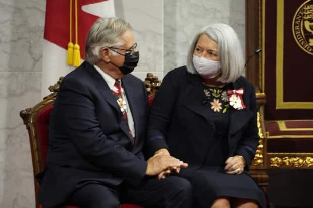 Mary Simon and her husband Whit Fraser attend the installation of Simon as governor general of Canada in Ottawa on Monday, July 26, 2021. ( Paul Chiasson/The Canadian Press - image credit)