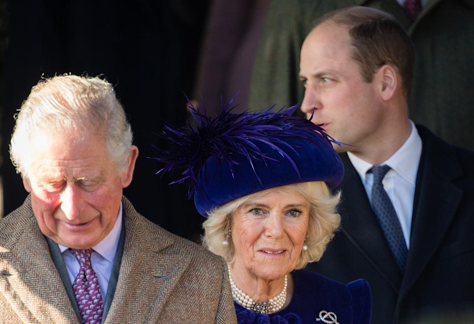 KING'S LYNN, ENGLAND - DECEMBER 25:  Prince Charles, Prince of Wales, Camilla, Duchess of Cornwall and Prince William, Duke of Cambridge attends the Christmas Day Church service at Church of St Mary Magdalene on the Sandringham estate on December 25, 2019 in King's Lynn, United Kingdom. (Photo by Pool/Samir Hussein/WireImage)