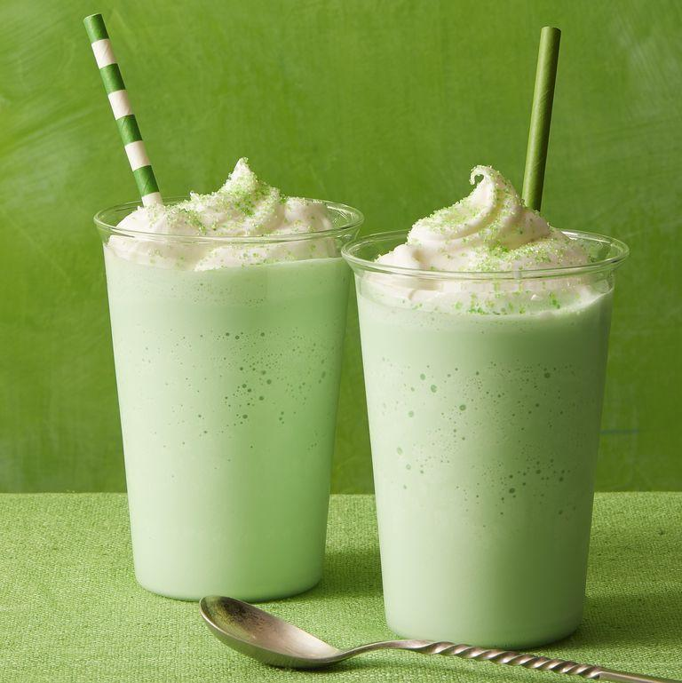"""<p>Green drinks aren't just a good option for St. Patrick's Day. They also make great treats for Halloween. The kids in particular will love the vanilla and peppermint taste. </p><p><em><a href=""""https://www.womansday.com/food-recipes/food-drinks/a31000234/peppermint-shake-recipe/"""" rel=""""nofollow noopener"""" target=""""_blank"""" data-ylk=""""slk:Get the Peppermint Shake recipe."""" class=""""link rapid-noclick-resp"""">Get the Peppermint Shake recipe. </a></em></p>"""