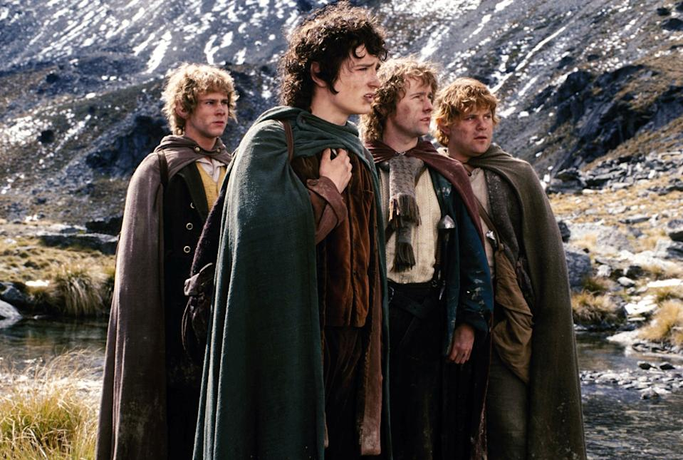 Dominic Monaghan, Elijah Wood, Billy Boyd and Sean Astin in 'The Lord of the Rings' (New Line Cinema)